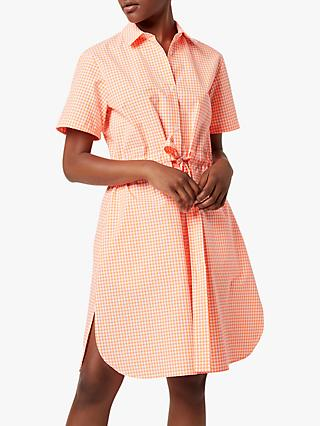 French Connection Rufara Seersucker Gingham Shirt Dress, Pink