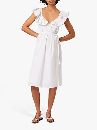French Connection Azana Cotton Poplin Tie Dress, White