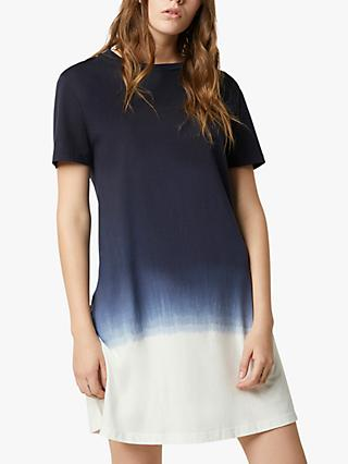 French Connection Vai Dip Dye T-Shirt Dress, Utility Blue/Summer White