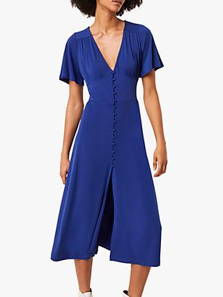 French Connection Jersey V-Neck Midi Dress, Clement Blue