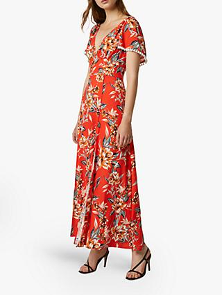 French Connection Claribel Floral Print Maxi Dress, Poppy Red/Multi
