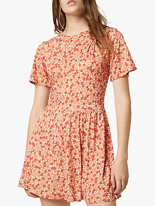 French Connection Zina Floral Jersey Drape Mini Dress, Pumpkin/Multi