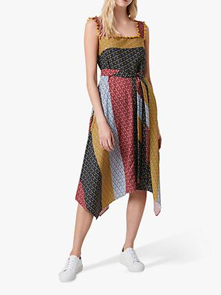 French Connection Adita Colour Block Floral Print Drape Dress, Multi