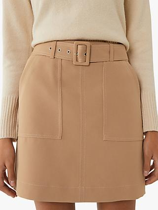 Warehouse Belted Contrast Stitch Mini Skirt, Camel