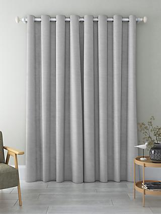 John Lewis & Partners Faux Silk Slub Pair Blackout Lined Eyelet Curtains