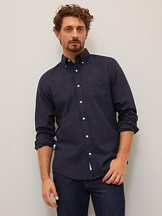 John Lewis & Partners Puppytooth Check Cotton Flannel Regular Fit Shirt