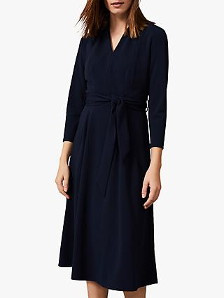 Phase Eight Maretta Pleat Tie Waist Dress, Navy