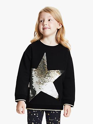 John Lewis & Partners Girls' Sequin Star Sweatshirt, Black