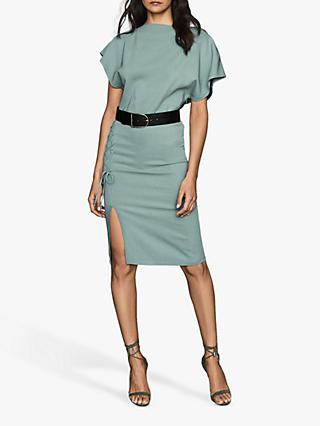 Reiss Theodora Ruched Side Dress, Teal