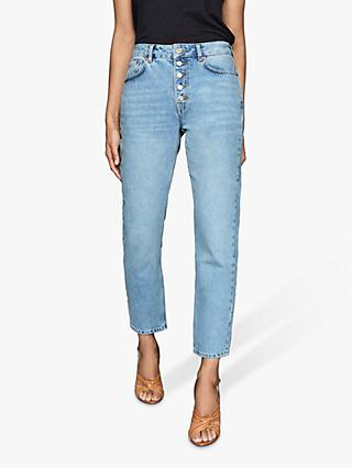 Reiss Lakely Mid Rise Straight Jeans, Pale Blue