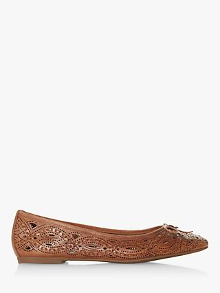 Dune Hansen Laser Cut Detail Flat Leather Pumps