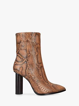Paige Kaylee Leather Snake Print Ankle Boots, Natural