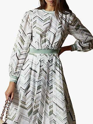 Ted Baker Everglade Abstract Stripe Flare Dress, White