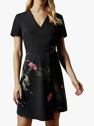 Ted Baker Highland Floral Wrap Mini Dress, Black