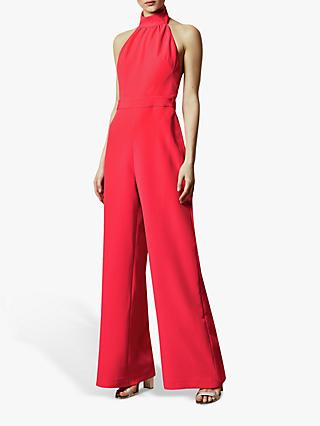 Ted Baker Tallise Halterneck Wide Leg Jumpsuit, Orange Coral