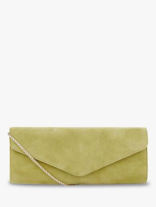 Hobbs Evie Suede Clutch, Leaf Green