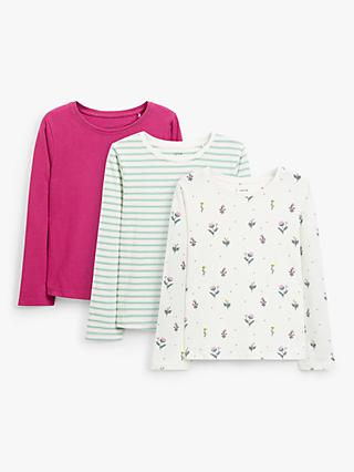 John Lewis & Partners Kids' Long Sleeve Tops, Pack of 3, Multi