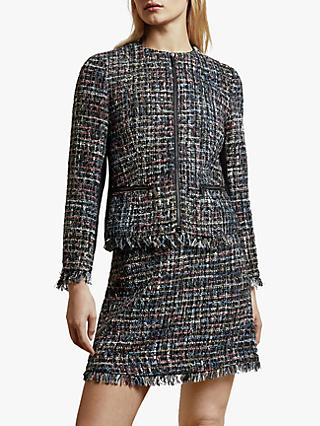 Ted Baker Honoraa Textured Fringe Hem Zip Jacket, Black/Multi