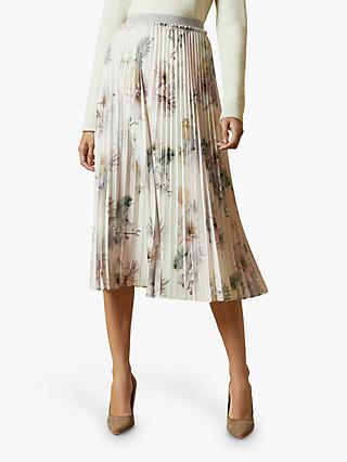 Ted Baker Maziiy Woodland Printed Pleat Skirt, Pale Pink