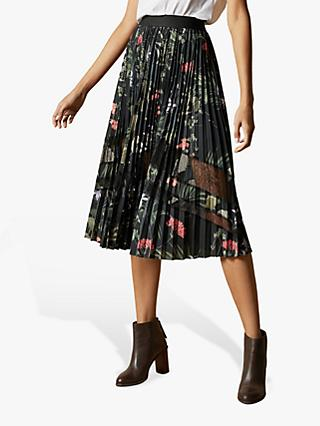 Ted Baker Abilen Highland Pleated Lace Skirt, Black