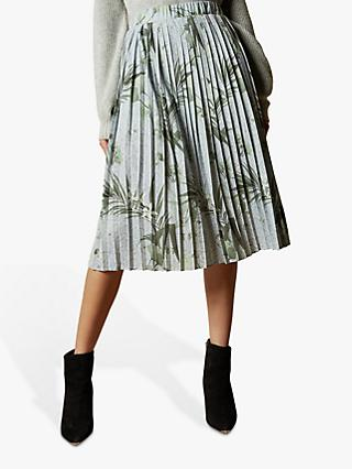 Ted Baker Estie Highland Jersey Pleat Skirt, Grey