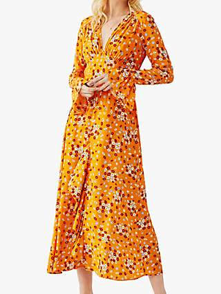Ghost Flori Floral Print V-Neck Midi Dress, Yellow/Multi
