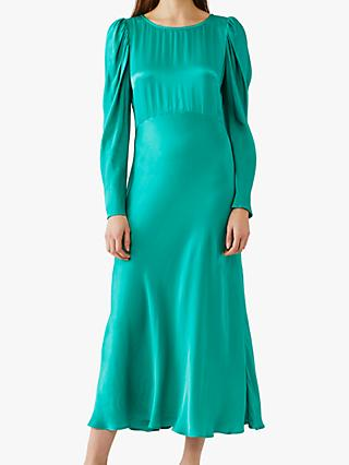 Ghost Rosaleen Fit and Flare Satin Midi Dress, Green