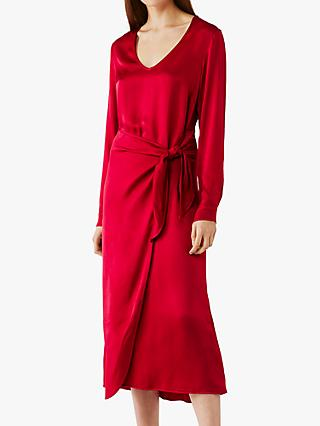 Ghost Brooke Belted Midi Dress, Hot Pink