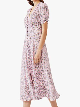 Ghost Flo Floral Midi Dress, Pink