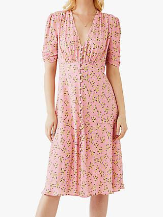 Ghost Sabrina Floral Dress, Liora Pink