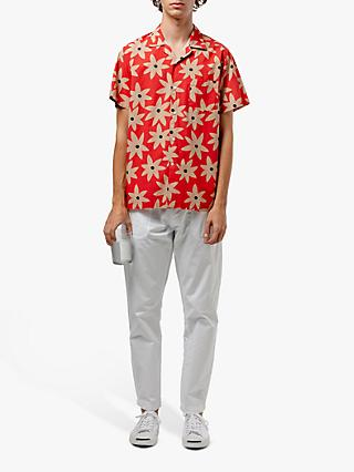 Edmmond Studios Flower Print Short Sleeve Shirt, Red