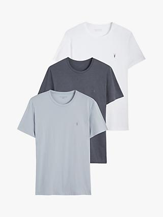 AllSaints Tonic Crew Neck T-Shirt, Pack of 3, White/Vista/Blue
