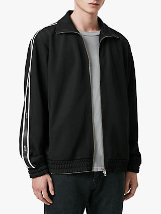 AllSaints Josh Funnel Neck Stripe Hoodie, Black