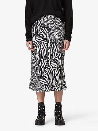 AllSaints Rayne Remix Animal Print Midi Skirt, White/Multi