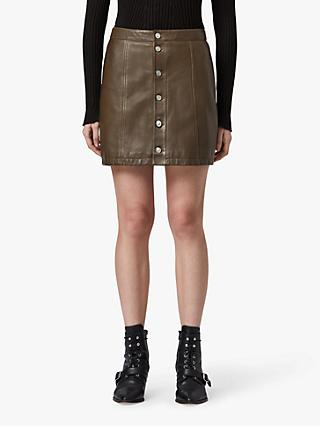 AllSaints Carson Leather Skirt, Olive Green