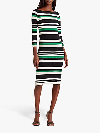 Lauren Ralph Laured Jenikia Casual 3/4 Length Sleeve Striped Dress, Hedge Green/White