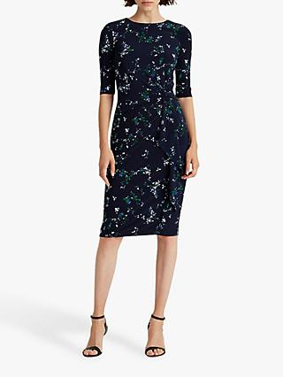 Lauren Ralph Lauren Shyla Elbow Sleeve Floral Print Day Dress, Lighthouse Navy/Regal Sapphire