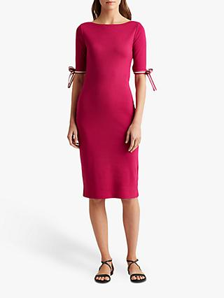 Lauren Ralph Lauren Brandeis Elbow Sleeve Dress, Bright Fuchsia
