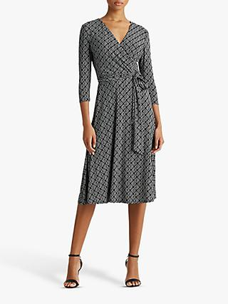 Lauren Ralph Lauren Carlyna Abstract Print Midi Dress, Black/Colonial Cream