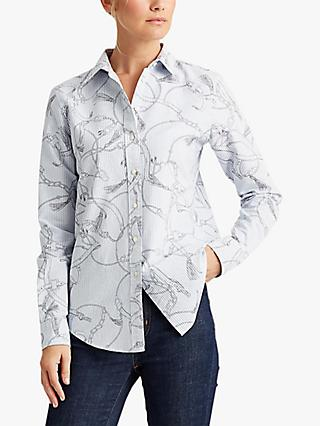 Lauren Ralph Lauren Jamelko Buckle Pattern Long Sleeve Cotton Shirt, White/Grey