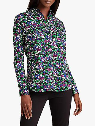 Lauren Ralph Lauren Courtenay Long Sleeve Floral Print Cotton Shirt, Multi