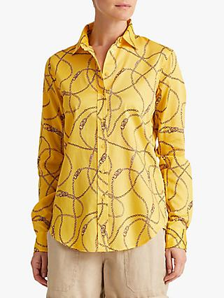 Lauren Ralph Lauren Jamelko Long Sleeve Chain Print Cotton Shirt, Dandelion Field Yellow