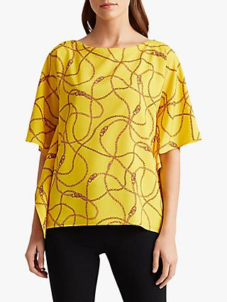 Lauren Ralph Lauren Anielka Short Sleeve Blouse, Dandelion Fields Yellow