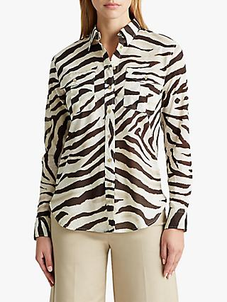 Lauren Ralph Lauren Courtenay Long Sleeve Zebra Print Cotton Shirt, Dark Brown/White