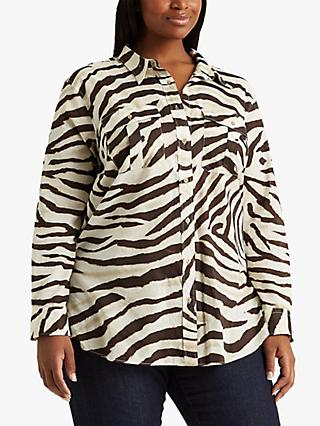 Lauren Ralph Lauren Curve Courtenay Long Sleeve Shirt, Multi