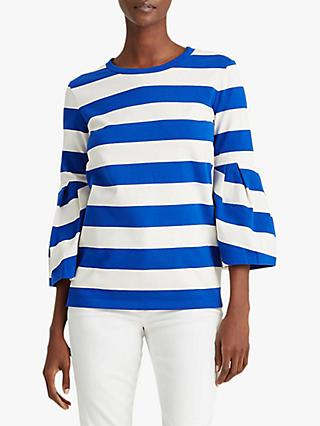 Lauren Ralph Lauren Beeshy Stripe Balloon Sleeve Cotton Top, Blue Glacier/Marscapone Cream