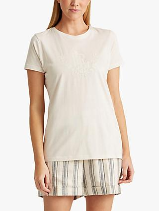 Lauren Ralph Lauren Katlin Short Sleeve Cotton Top, Mascarpone Cream