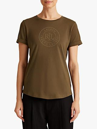 Lauren Ralph Lauren Hailly Branded Short Sleeve T-Shirt, Dark Sage