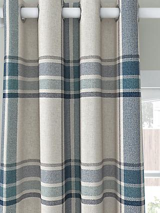 John Lewis & Partners Afton Check Pair Lined Eyelet Curtains