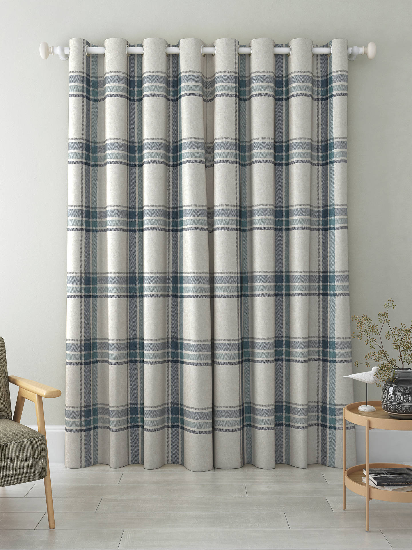 Buy John Lewis & Partners Afton Check Pair Lined Eyelet Curtains, Navy, W167 x Drop 137cm Online at johnlewis.com